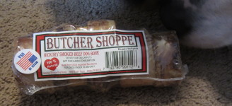 Butcher Shoppe-Hickory Smoked Beef Dog Bone, PJ sniffing