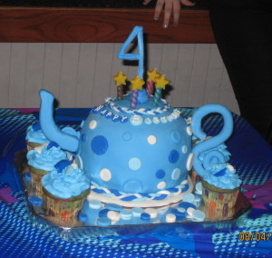 Polka Dot Teapot Fondant Cake