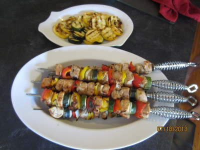 Grilled Chicken Shish Kabobs with a side of Grilled Summer Squash and Zucchini