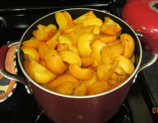 Apricots, pitted, and sliced ready for steaming