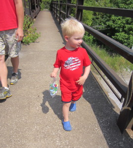 Walking out on the bridge to toss the binkies!