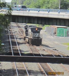 Train engine switching tracks.
