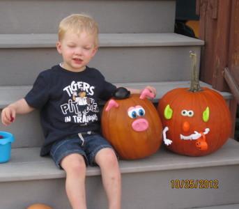 My pig pumpkin and S's goblin pumpkin.