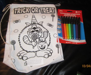 Color a Trick-or-Treat Bag with Permanent Markers